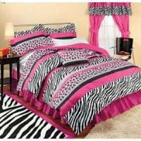 PURPLE ZEBRA TWIN 4 PC COMFORTER SET GIRLS TEEN BEDDING