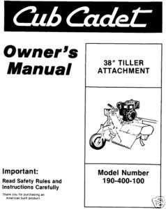 Cub Cadet Snow Blower Attachment Model 190 341 100