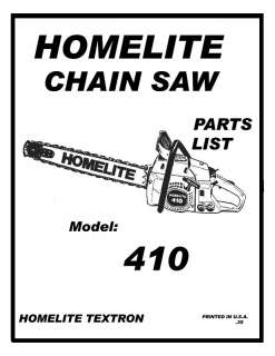 HOMELITE XL 102 AUTOMATIC CHAIN SAW PARTS MANUAL