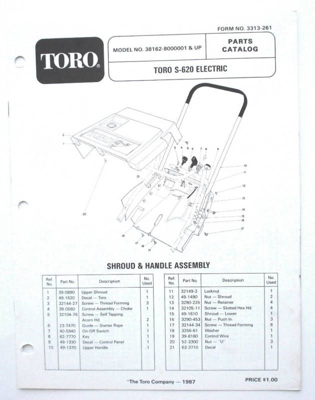 Toro S 620 Electric Snow Thrower Parts Manual 3313 261
