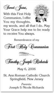 Remembrance of My First Holy Communion Prayer HC154 Girls
