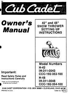 BOLENS 48 SNOW THROWER ATTACHMENT MODEL 1948 & 1949 PARTS LIST