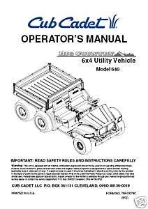 Cub Cadet Operators Manual Model # i1046 & i1050