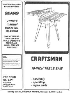 CRAFTSMAN OWNERS MANUAL ROUTER FOR SABRE SAW TABLE MODEL