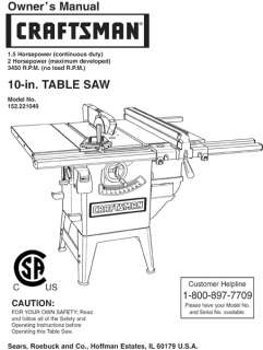 CRAFTSMAN ROUTER MODEL#315.17310 Owners Manual