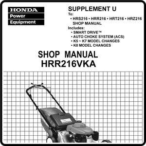 Honda HRR216 VXA VYA Lawn Mower Service Repair Manual