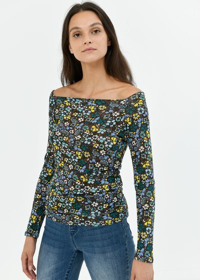 T-shirt Soel fantasia fiori - Cacao / Pavone Fantasia - Immagine categoria