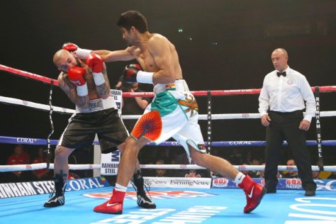 Vijender Singh continued his remarkably dominant run in the professional circuit, notching up a third successive knockout triumph by thrashing Bulgaria's Samet Hyuseinov in less than two rounds. Barely 35 seconds into the second round of what was to be his maiden six-round contest, Vijender cornered Hyuseinov with a flurry of combination punches to force the referee into stopping the bout and give the Indian a win via Technical Knockout. The former Olympic and World Championships bronze-medallist thus continues to remain unbeaten since making his debut in October, all three of his wins being knockouts in under three rounds. (Getty Images)