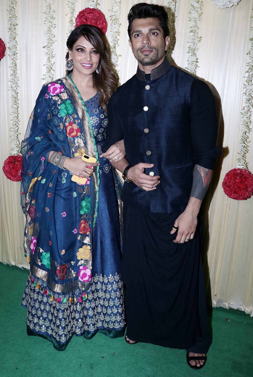 Bipasha Basu poses with Karan Singh Grover during Ekta Kapoor's Diwali party hosted at her residence in Mumbai on October 17, 2017. (Image: Yogen Shah)