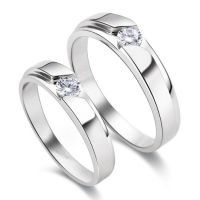 Classic Solitaire CZ 925 Sterling Silver Couple Wedding ...