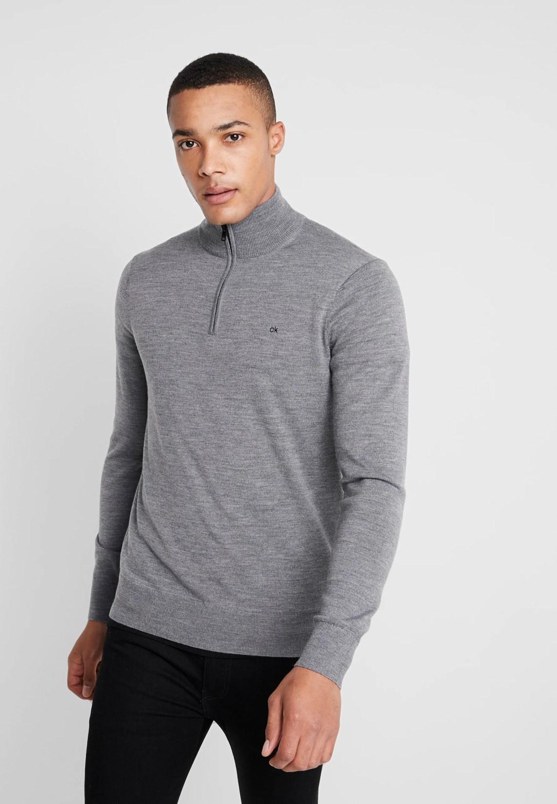 Download Calvin Klein SUPERIOR ZIP MOCK - Jersey de punto - grey ...