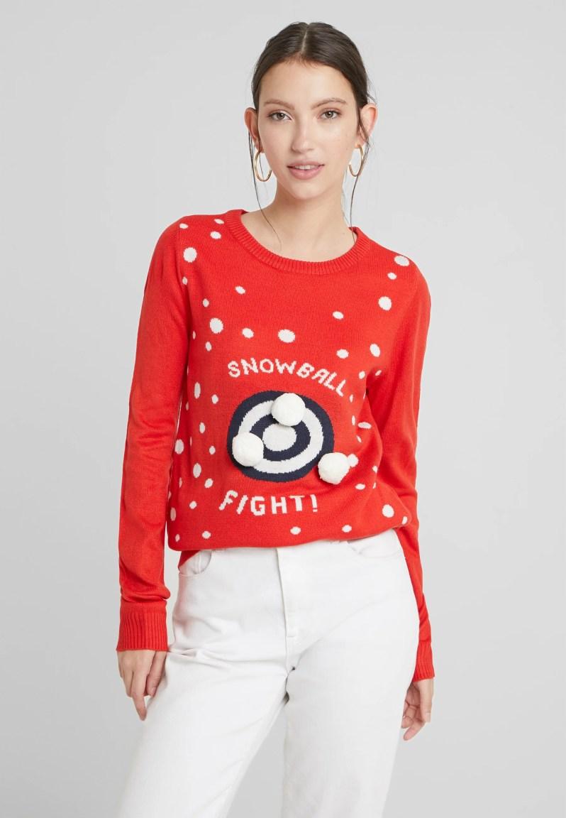 Vila - Pullover - racing red/snowballs