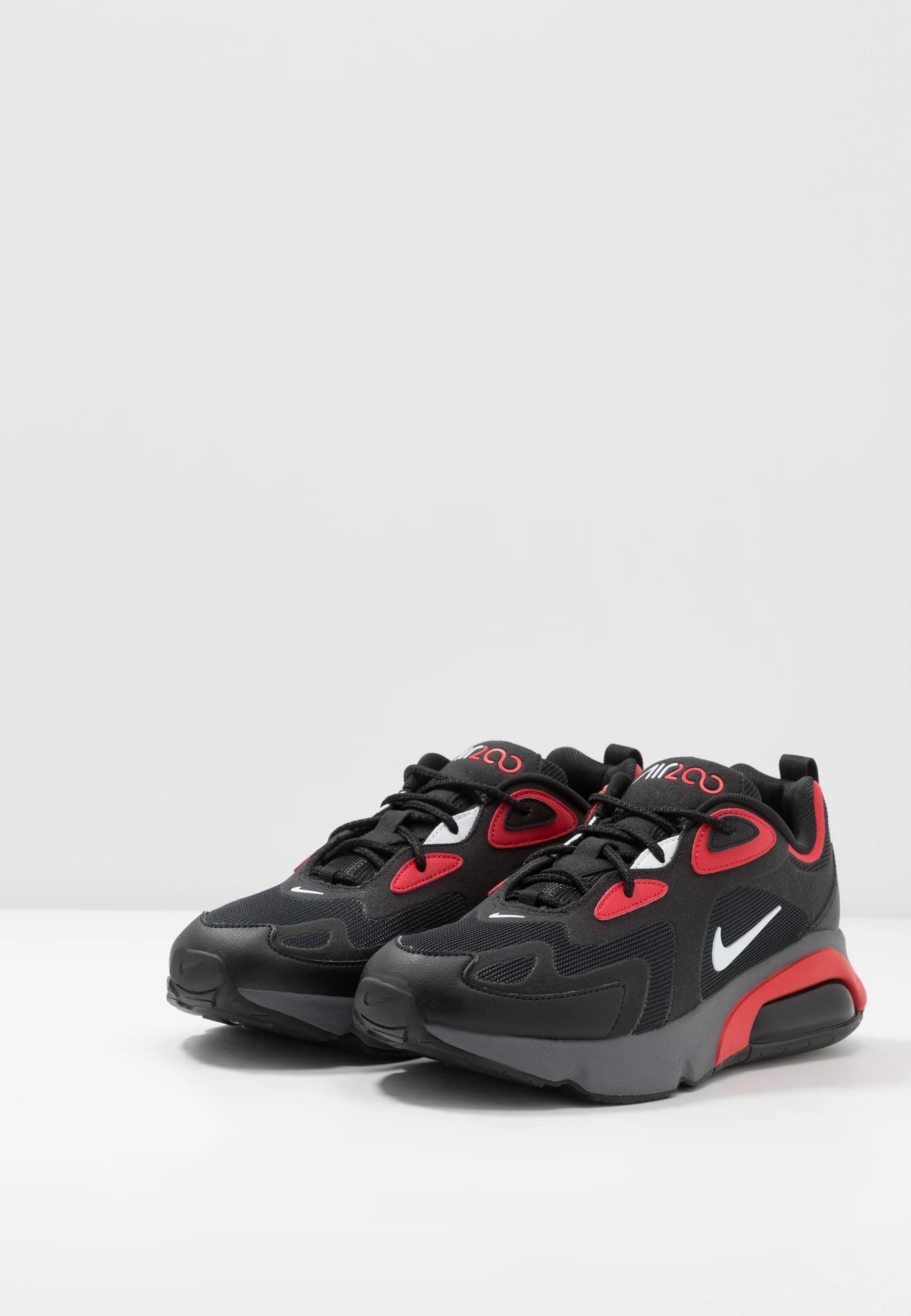 air max 200 sneaker low black white university red dark grey