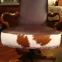 Hair On Hide Office Chair Ikea Kid Table And Chairs Leather Cowhide Desk Swivel Western
