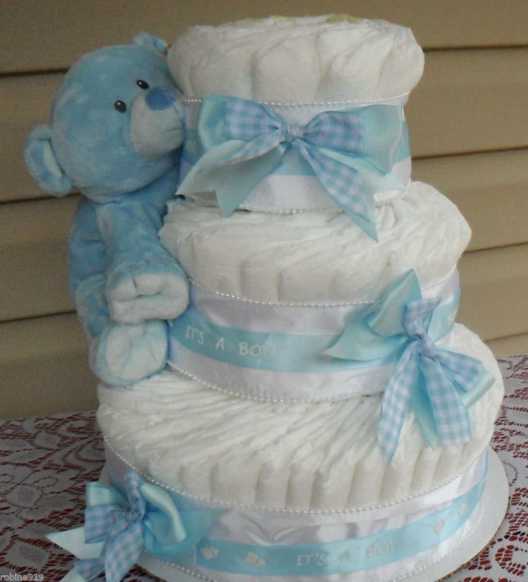 Blue Gingham Diaper Cake Baby Shower Decorations Baby Shower