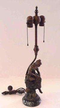 ANTIQUE SIGNED MOREAU FIGURAL LADY BRONZE SPELTER LAMP