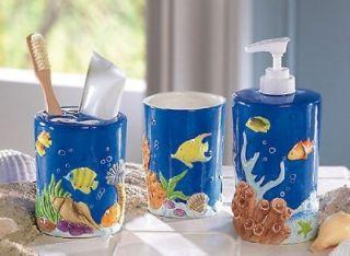 Tropical FISH bathroom RUG Bath mat Toilet Lid decor NU