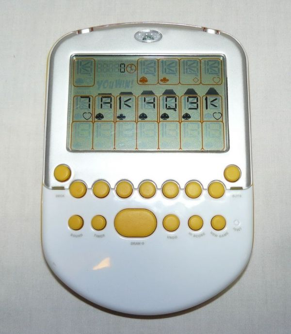 Radica Handheld Big Screen Solitaire Electronic Game White