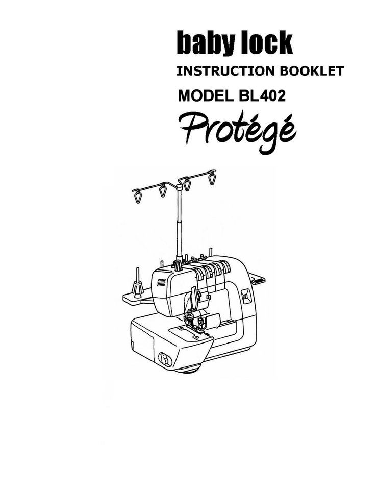 BABY LOCK SERGER PROTEGE BL402 INSTRUCTION MANUAL BOOK
