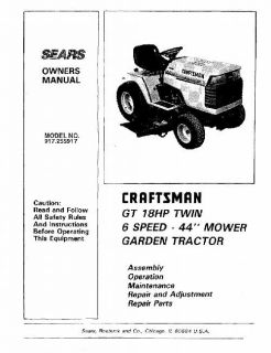 Model# 917.272242 Craftsman 20 Hp Lawn Tractor Owners