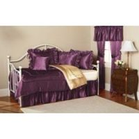 NEW PLUM PURPLE LUXURY SATIN DAYBED BEDDING SET COMFORTER ...