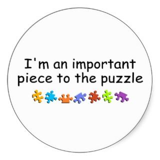 autism puzzle piece photo card, template