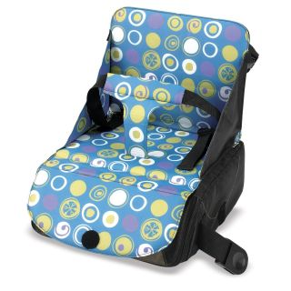 munchkin high chair outdoor reclining chaise lounge chairs travel booster seat portable blue green circles new nip