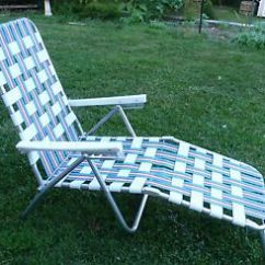 Webbed Chaise Lounge Chairs Summer Infant Chair Aluminum Folding Sunbathing Lawn Pool Web Patio Blue