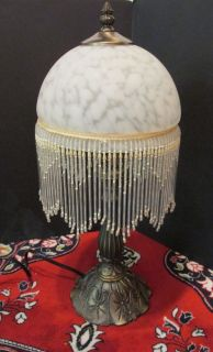 Victorian Style Glass Shade Beaded Fringe Boudoir Metal
