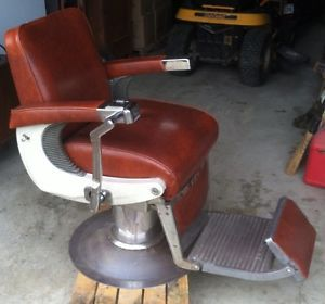 belmont barber chair parts mounted keyboard tray antique vintage upper foot rest arms padded leather original atomic mid century eames salon working hydraulics