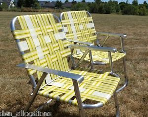 webbed chaise lounge chairs revolving chair otobi retro wood arms vintage folding aluminum lawn patio