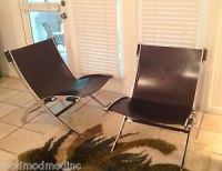 Pair of Vintage Teak and Black Leather Mid Century Modern ...