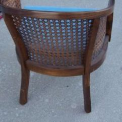 Mid Century Cane Barrel Chair Covers To Buy Melbourne Tlc Tan Faux Bamboo Round Hollywood Regency Vintage Back With Blue Upholstered Seat