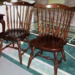 Vintage Wooden Dining Chairs Desk Chair Red Pair Ethan Allen Dark Spindle Back Solid Wood Vgc