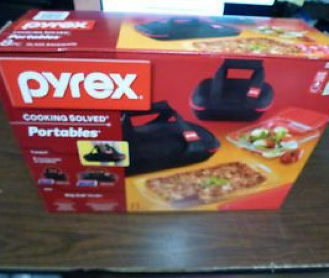 New Pyrex Portables  Piece Glass Bakeware Set With Carriers Cold Hot Packs