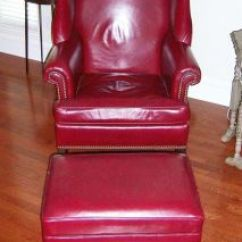 Ethan Allen Leather Chair Patio Chairs Sale Wingback Red Ottoman Stool