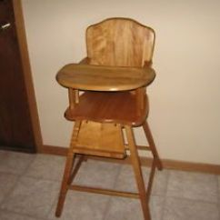 Antique Wooden High Chair Pictures Of Covers Vintage Baby Maple No Safety Strap Local Pick Up Lkvl Mn