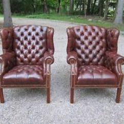 White Leather Wingback Chair Vintage Dining Room Chairs Hancock And Moore Tufted A Pair Of Brown By Leathercraft
