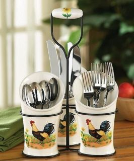 rooster kitchen decor frameless cabinets country flatware utensil holder sunflower