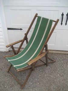 antique beach chair norstar office parts vintage folding wood frame with canvas adjustable