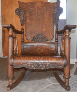 antique wooden rocking chairs full chair covers glider base old wood platform oak detailed carvings