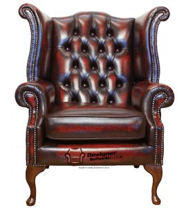 oxblood leather wing chair how to cover chairs chesterfield armchair queen anne high back fireside