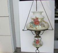 Vtg White Milk Glass Table Lamp Hand Painted Pink Roses