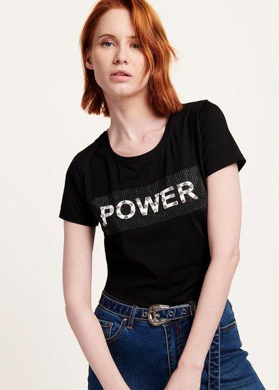 T-shirt Sybilla con stampa frontale - Black / White - Immagine categoria