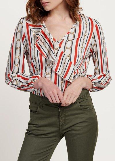 T-shirt Carmen fantasia righe e catene - White / Blu / Stripes - Immagine categoria