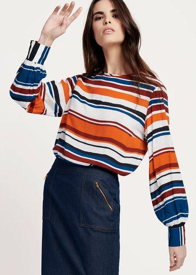 T-shirt Shayla in viscosa fantasie righe orizzontali - White / Marina Stripes - Immagine categoria