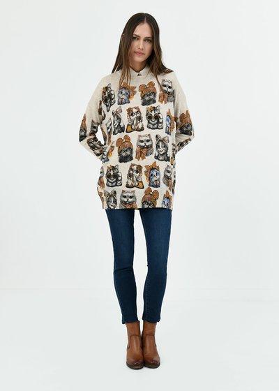 T-shirt Monique stampa gatti - Light Beige\ Black\ Fantasia - Immagine categoria