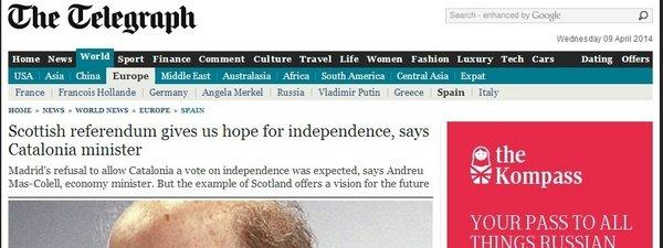 Mas-Colell lamenta en 'The Telegraph' la actitud
