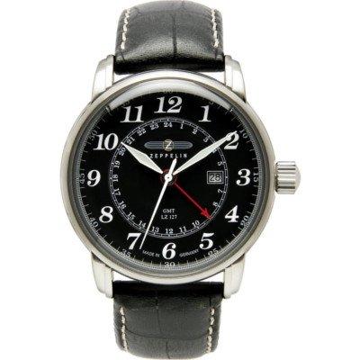 7642-2/グラーフツェッペリン/ブラックダイヤル/ブラックレザー/GMT/ローザンジュ針