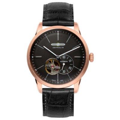 【海外限定モデル】/ツェッペリン腕時計/フラットライン/7362-2/ブラックダイヤル/ブラックレザー/自動巻き/オープンハート/スモールセコンド/スケルトンバック